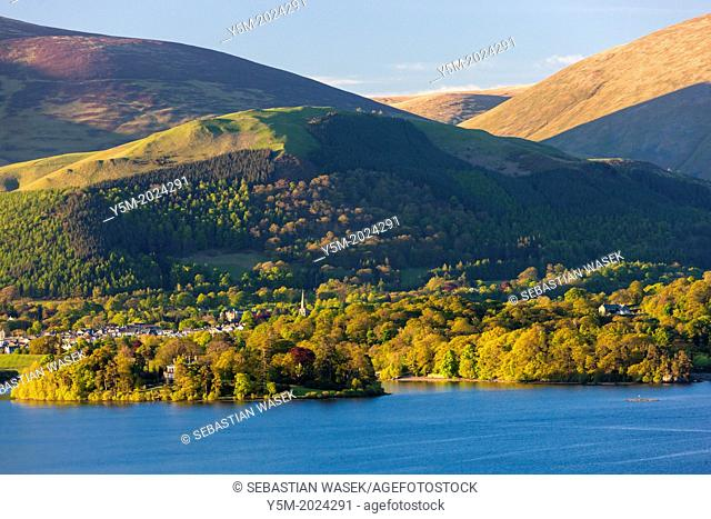 View across Derwent Water towards Keswick, Lake District National Park, Cumbria, England, UK, Europe