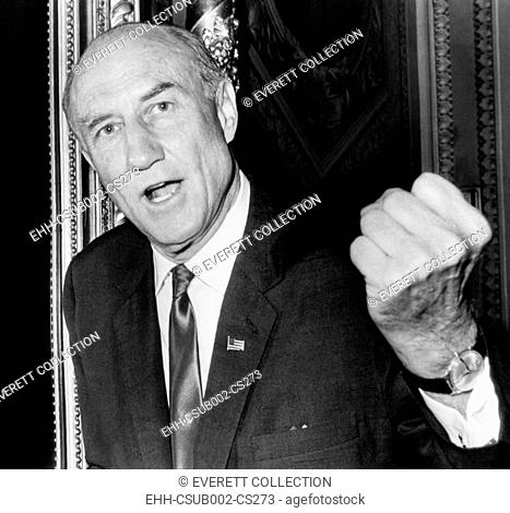 Sen. Strom Thurmond before launching the filibuster against the 1966 Civil Rights Bill. With clenched fist, he called it 'one of the most vicious