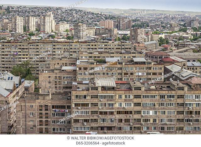 Armenia, Yerevan, Soviet-era Kumunalka apartment buildings, high angle view