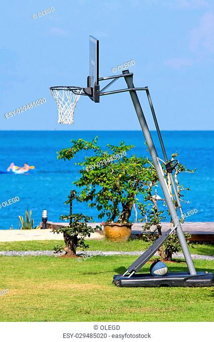 Outdoor basketball net near the sea on island Koh Phangan, Thailand