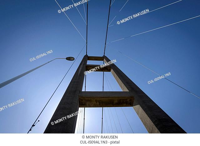View of the top of suspension bridge. The Humber Bridge, UK was built in 1981 and at the time was the world's largest single-span suspension bridge