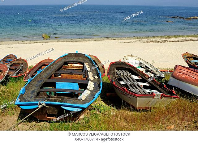 Traditional fishing boats by the beach  Vigo, Galicia, Spain