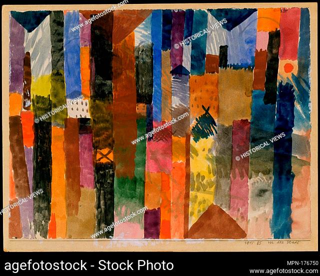 Before the Town. Artist: Paul Klee (German (born Switzerland), Münchenbuchsee 1879-1940 Muralto-Locarno); Date: 1915; Medium: Watercolor on paper mounted on...