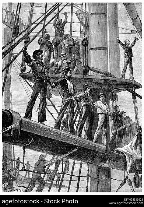 Revolt of the English sailors, On each ship they went to tackle, vintage engraved illustration. Journal des Voyage, Travel Journal, (1880-81)