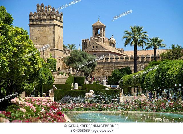 Garden in the Alcázar de los Reyes Cristianos, Córdoba province, Andalucía, Spain