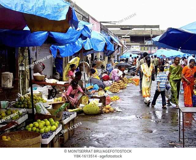 Monsoon fruit stalls in Mapusa market, Goa, India