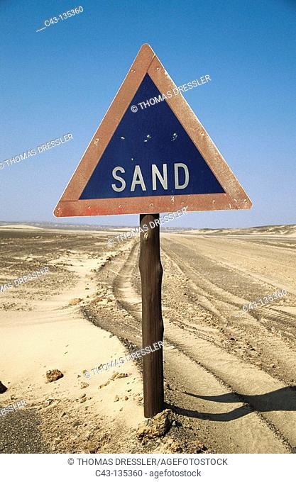 Traffic sign, Skeleton Coast, Namib desert. Namibia