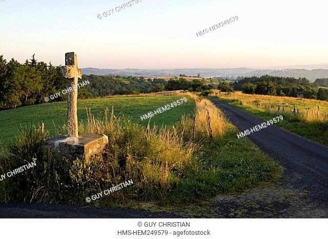 France, Puy de Dome, Parc Naturel Regional du Livradois Forez, cross in Puissochet place name at Domaize
