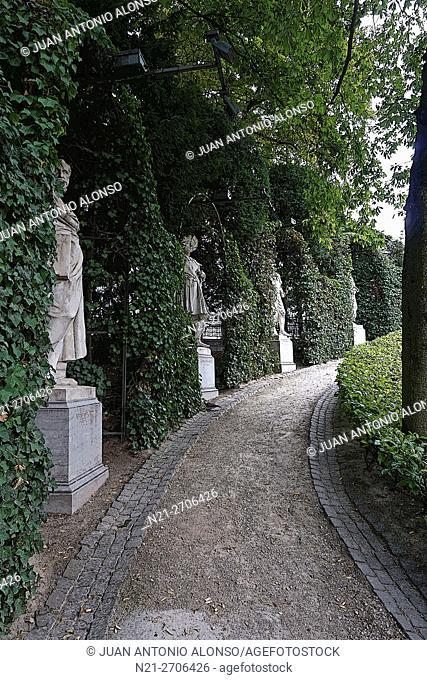 Statues at Le Petit Sablon Square, Brussels, Belgium, Europe