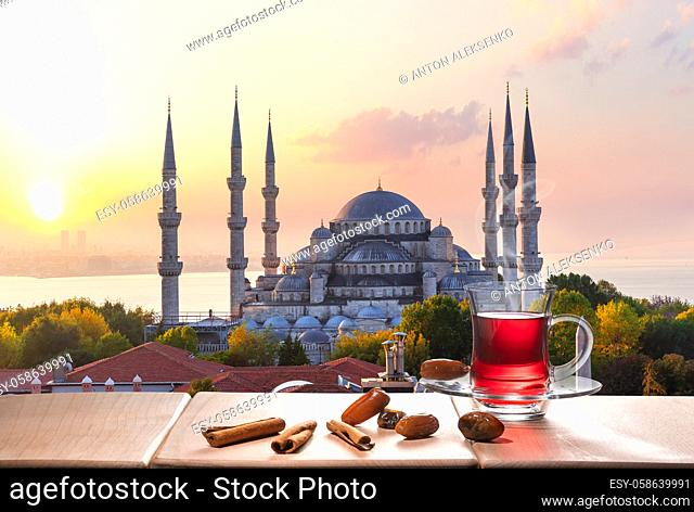 The Blue Mosque and Istanbul tea with cinnamon sticks and dates, Turkey