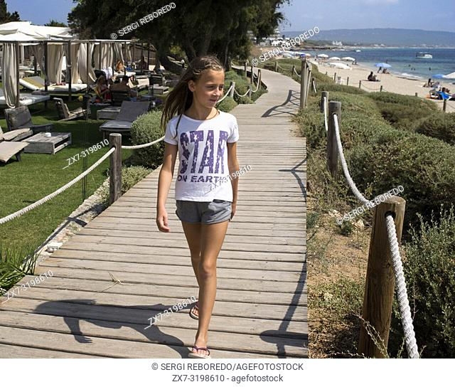 Girls and children in the Gecko luxury boutique Hotel, Migjorn beach, Formentera Island, Balearic Islands, Spain, Europe