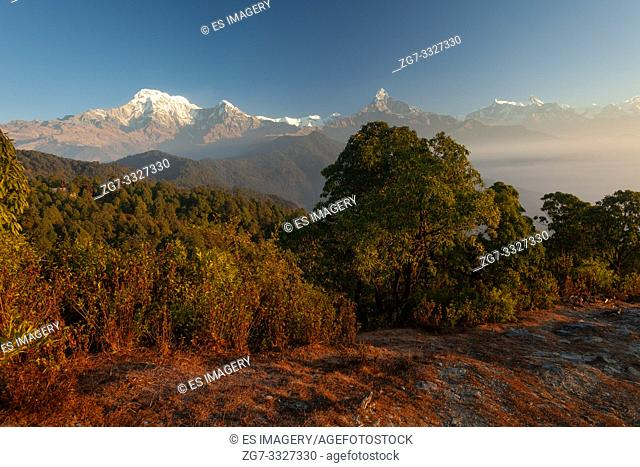Hiking trail leading past Machapuchare, Annapurna South, Himchuli in the Himalayas, Nepal