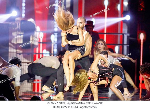 The showgirl Michelle Hunziker during a performace at tv programme Zelig, Milan, ITALY-22-11-2016