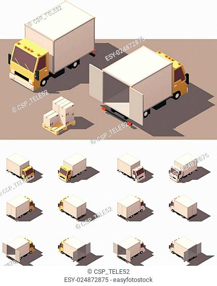 Vector isometric box truck icon set