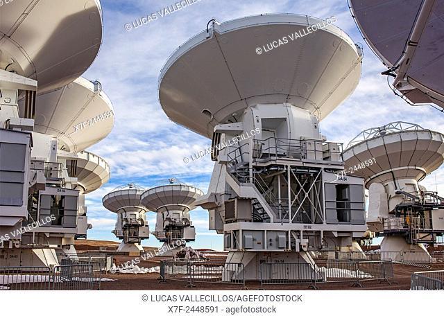 ALMA observatory, Antennas in plain of Chajnantor, 5000 meters of altitude,Array Operations Site (AOS), Atacama desert. Region de Antofagasta. Chile