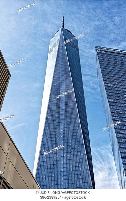 A completed 1 World Trade Center (Freedom Tower) taking it's beautiful place in the Downtown New York City skyline, USA