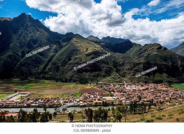 View of village Urubamba at the sacred valley, Peru
