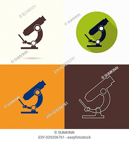 Vector icons with a microscope with a long shadow, with a flat design. Scientific research and bioprospecting microbes