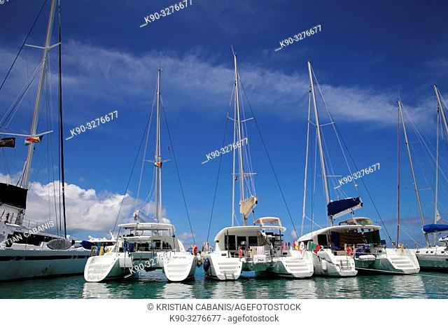 Yachts in the harbour of La Digue, Seychelles, Indian Ocean, Africa