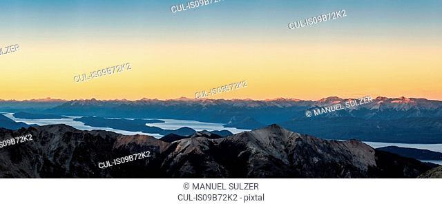 Panoramic sunset view of Andes mountain range, Nahuel Huapi National Park, Rio Negro, Argentina