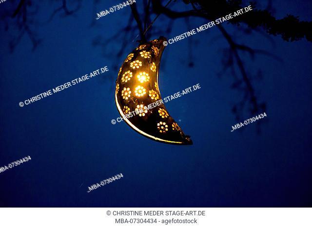 Lantern, moon in the night sky