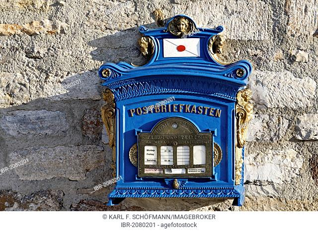 Historic blue mailbox, a replica of 1896, Germany, Europe