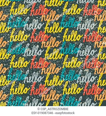 Seamless pattern with colorful vintage Hello lettering