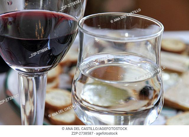 Wine and water glasses on table