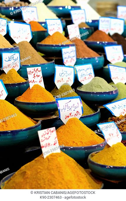 Spices for sale on the souq, Shiraz, Iran, Asian