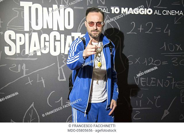 The italian singer Francesco Facchinetti at the photocall of the film Tonno Spiaggiato, directed by Matteo Martinez with Frank Matano at the Cinema Anteo