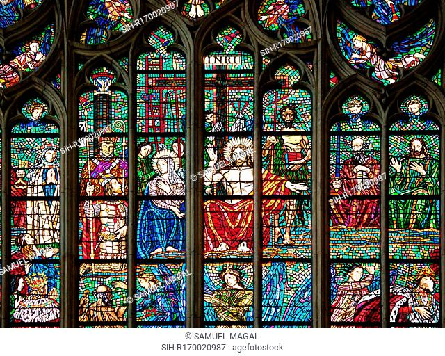 Part of the Last Judgment stained glass window, located in the southern transept of St. Vitus Cathedral, in Prague, Czech Republic