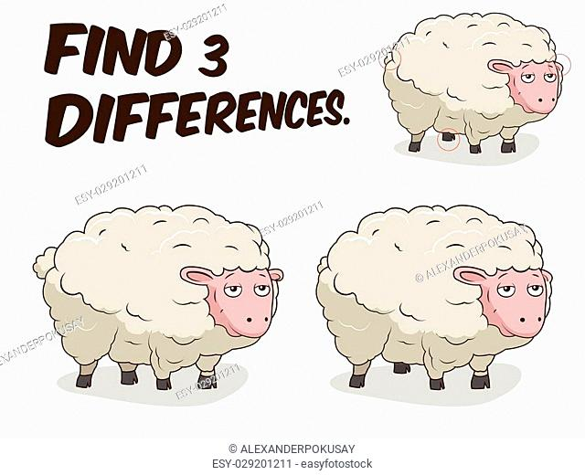 Find differences game sheep cartoon colorful vector illustration