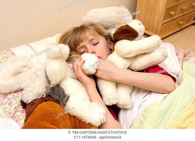UK, England, Lancashire, Blackpool, Girl sleeping