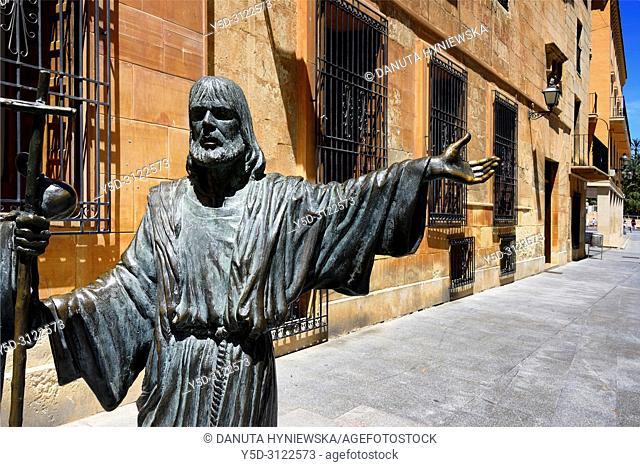 Plaça de Santa Maria around Basilica Santa Maria, Ternari - bronze sculpture by Miguel Ruiz, recreating a scene from The Mystery of Elche