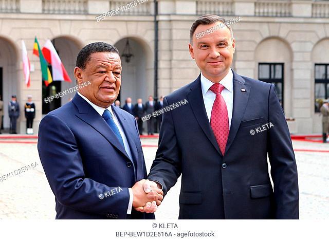 April 24, 2018 Warsaw, Poland. Presidential Couple welcoming Ethiopian Presidential Couple. Pictured: President of Poland Andrzej Duda and first lady Agata Duda