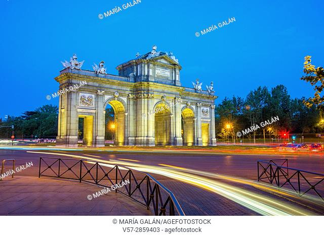 Alcala Gate, night view. Madrid, Spain