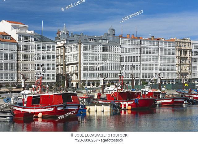 Seafront and fishing port, La Marina avenue, La Coruña, Region of Galicia, Spain, Europe