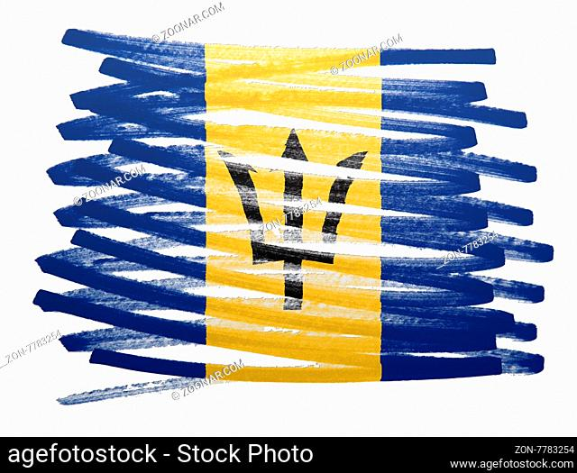 Flag illustration made with pen - Barbados