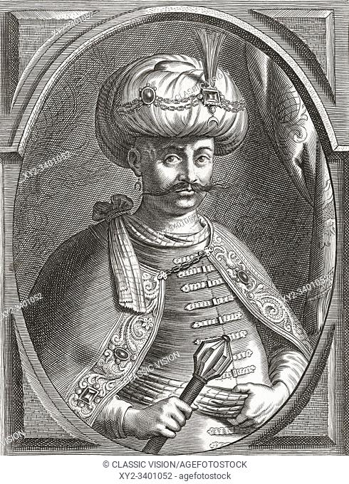 Ibrahim, Sultan of the Ottoman Empire, 1615-1648. He ruled from 1640-1648. Also known as Ibrahim the Mad. After a 17th century engraving