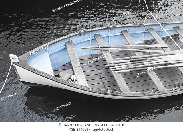 Detailed view of an antique row boat