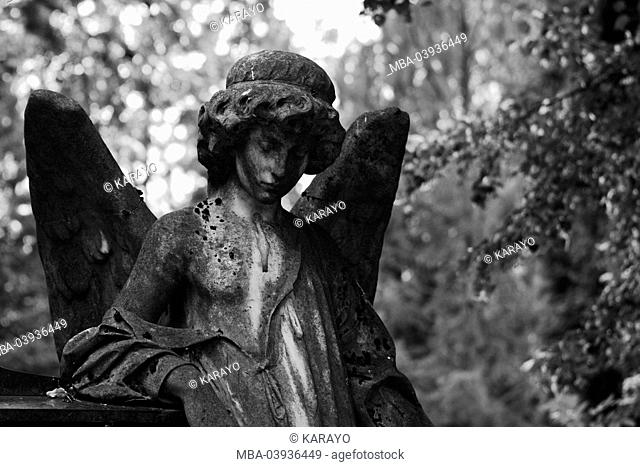 grave yard, grave, statue, angels, s/w