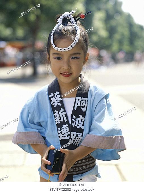 Asia, Child, Dress, Girl, Holiday, Honshu, Japan, Kyoto, Landmark, Tourism, Traditional, Travel, Vacation, Young, Yukata