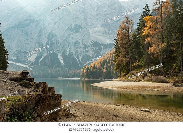 Autumn day at lake Braies (Pragser Wildsee), South Tyrol, Dolomites, Italy