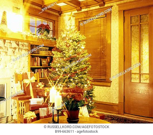 Living Room Interior With Christmas Tree And Presents