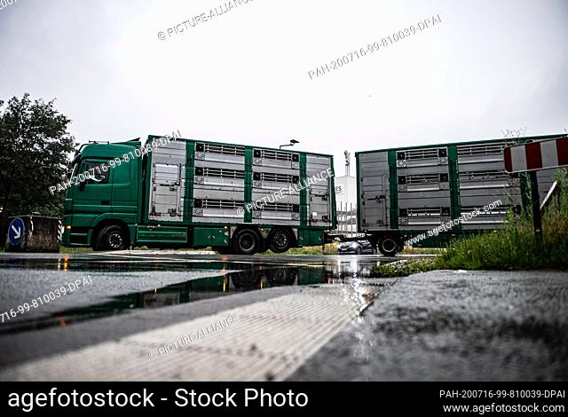 16 July 2020, North Rhine-Westphalia, Rheda-Wiedenbrück: A livestock transporter, which previously delivered pigs, drives from the Tönnies factory premises