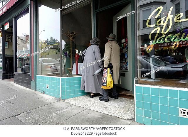 SAN FRANCISCO, CALIFORNIA USA Cafe entrance North Beach