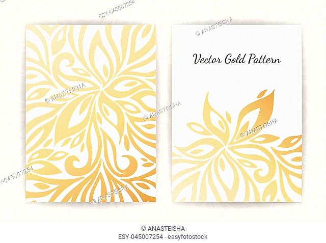 Gold vintage greeting card on a black background. Luxury ornament template