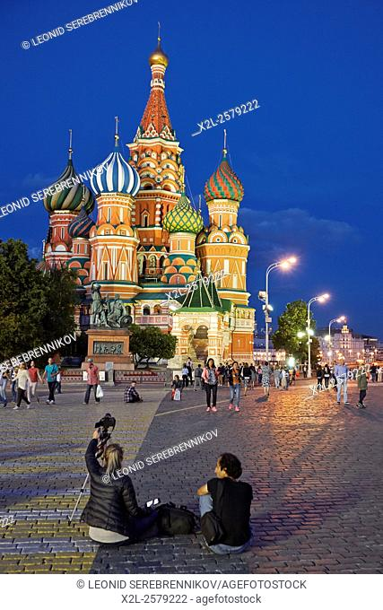 Saint Basil's Cathedral at night. Moscow Russia