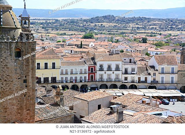 Partial view of Trujillo from the walled city. We can see the Torre del Alfiler and beyond, San Martin Church belfry.Trujillo, Caceres, Extremadura, Spain