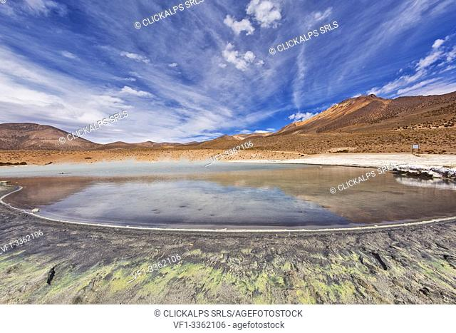 Lagoon of hot thermal water in the Salar de Surire Natural Monument. Chile. South America